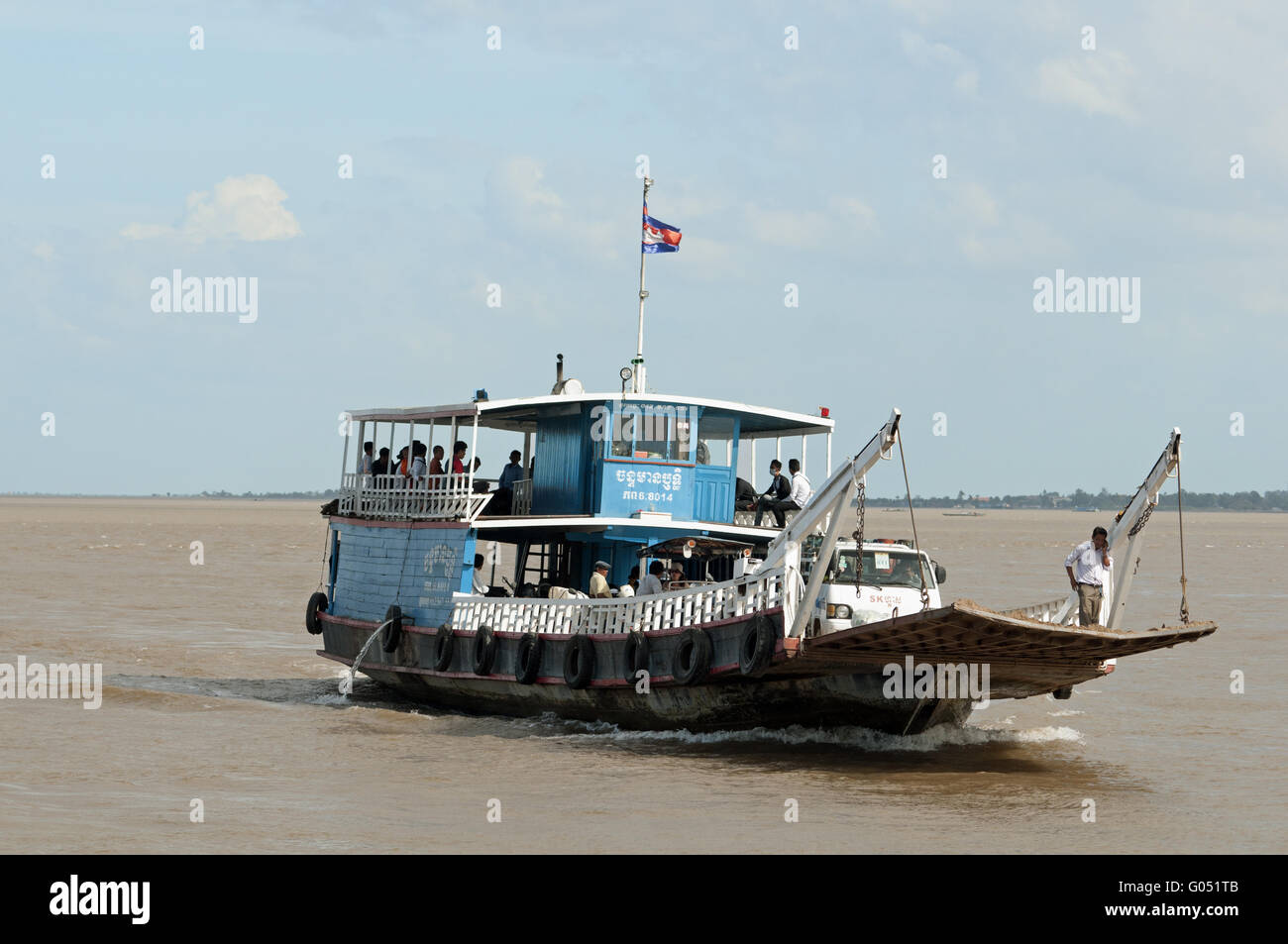 Ferry boat crossing the Mekong River, Phnom Penh Stock Photo