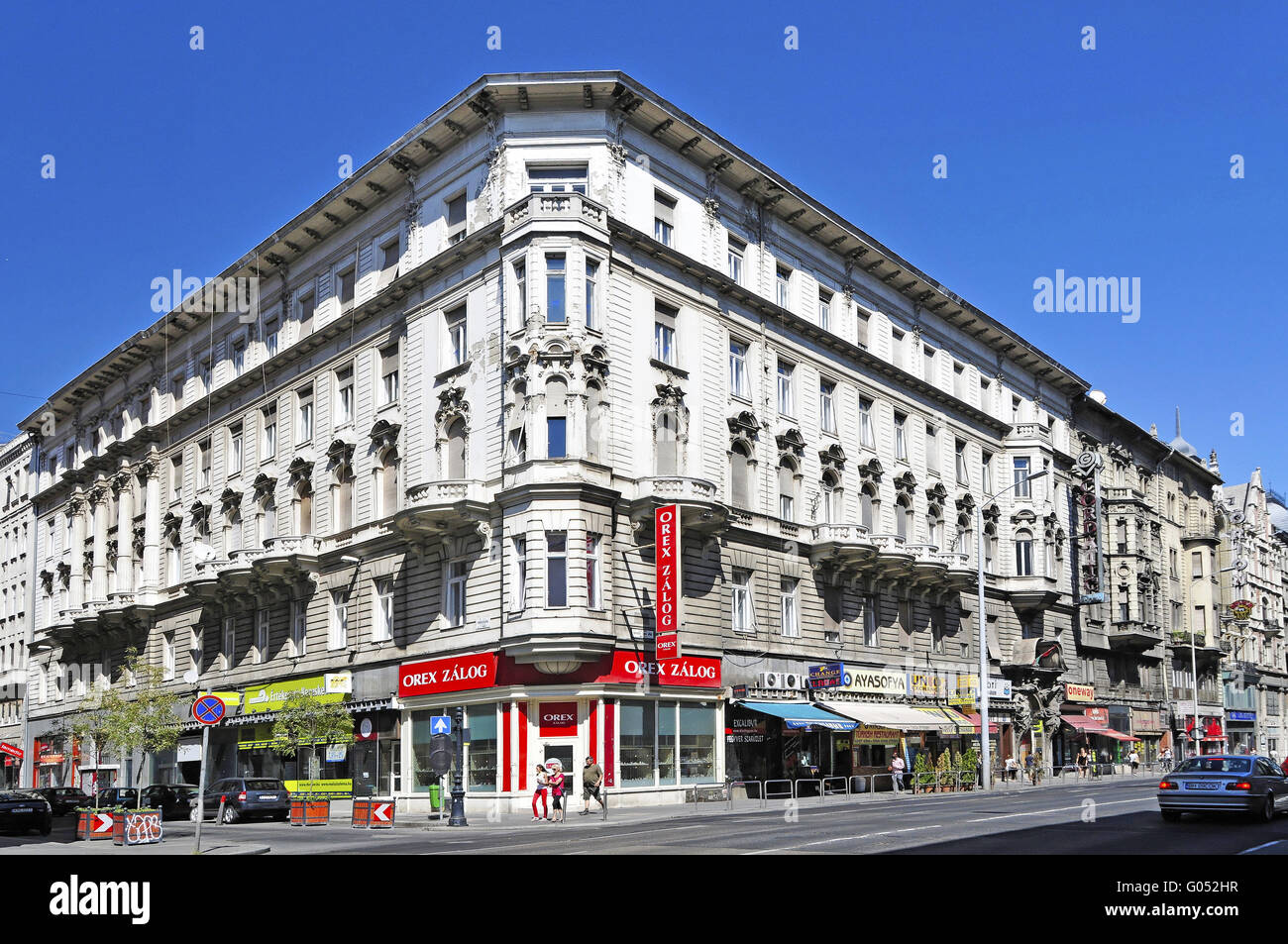 Pest district with restored buildings from the tur Stock Photo