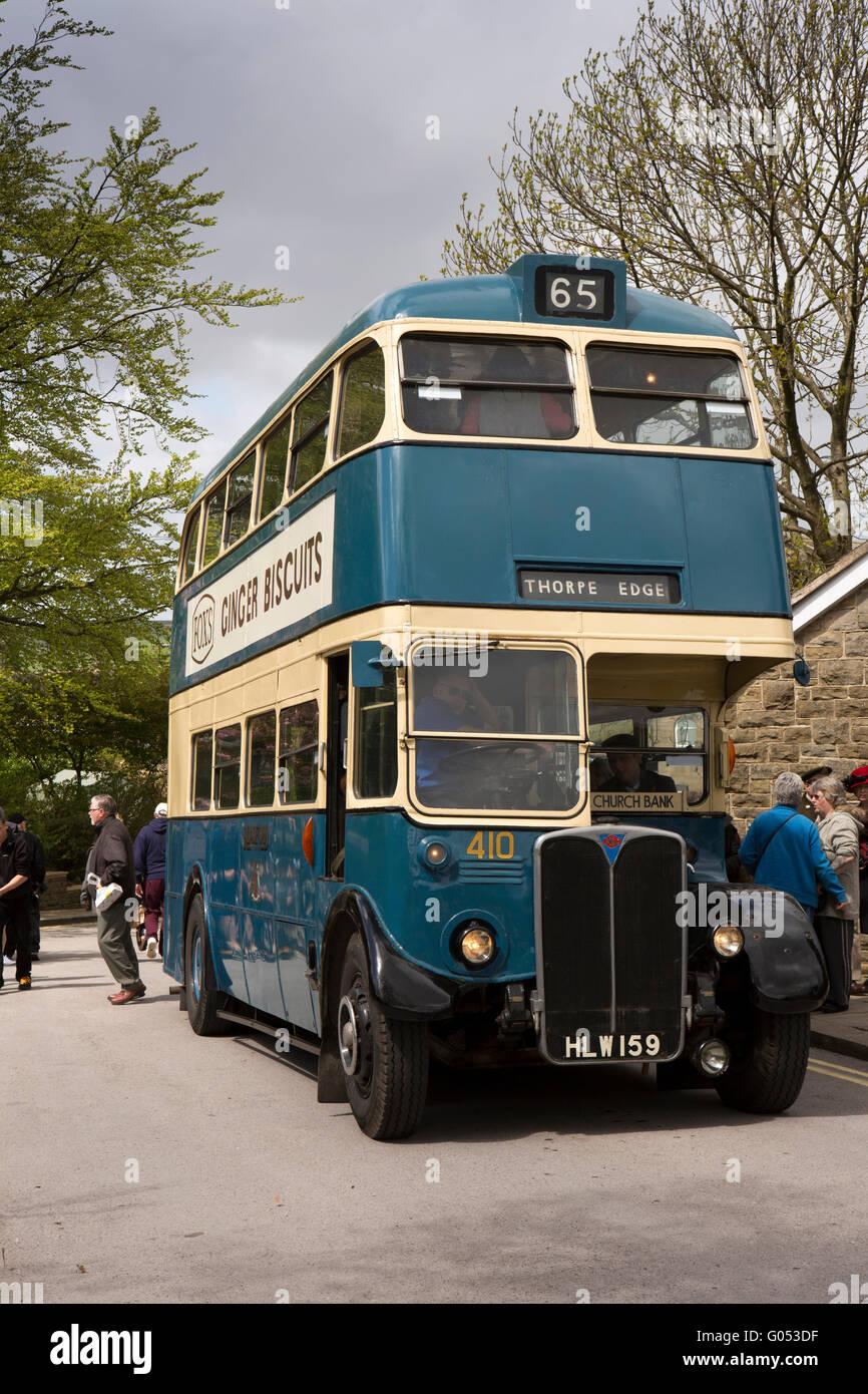 UK, England, Yorkshire, Haworth 40s Weekend, vintage Bradford City Transport AEC double decker bus - Stock Image