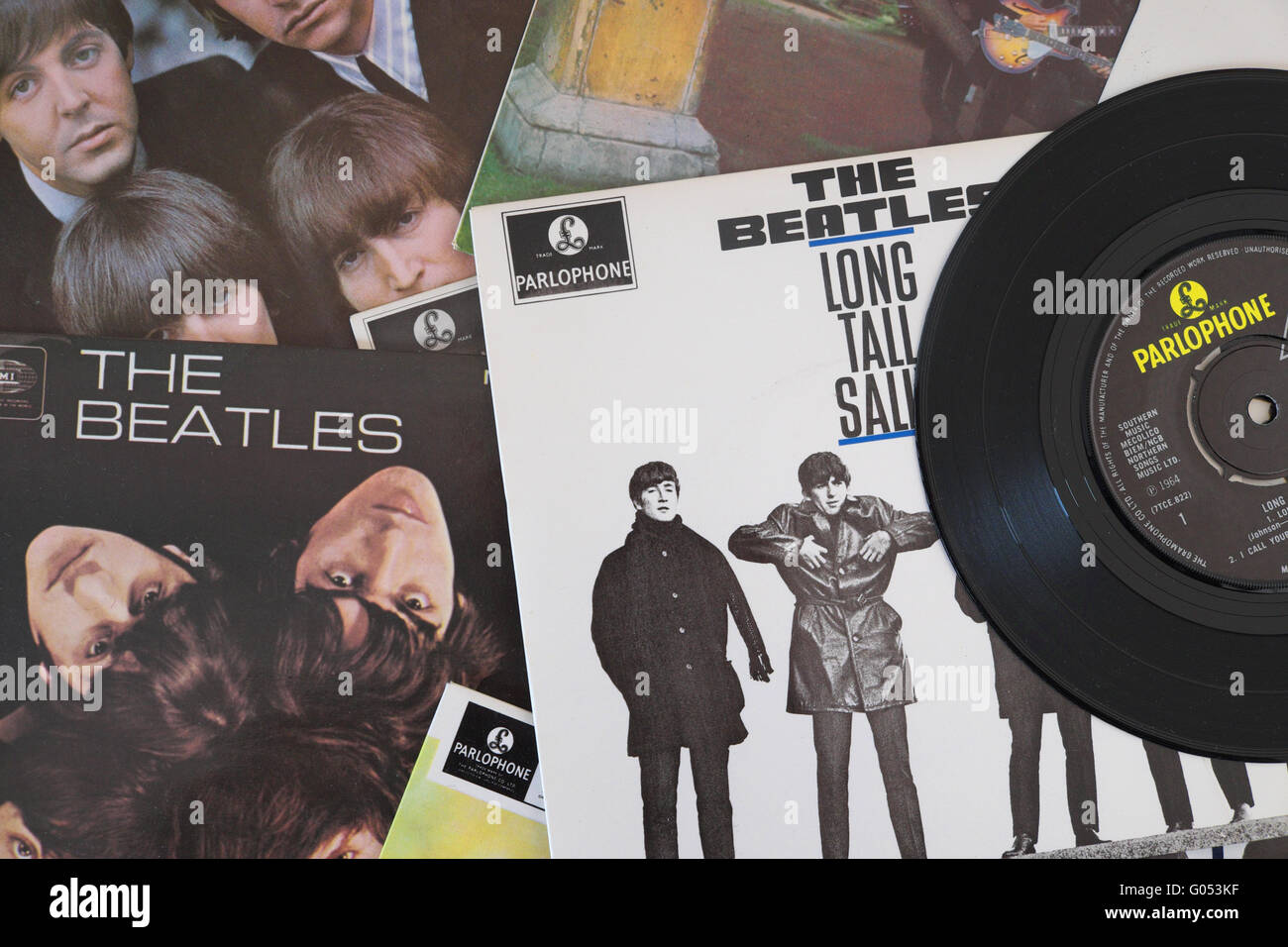The Beatles a selection of Beatles records - Stock Image