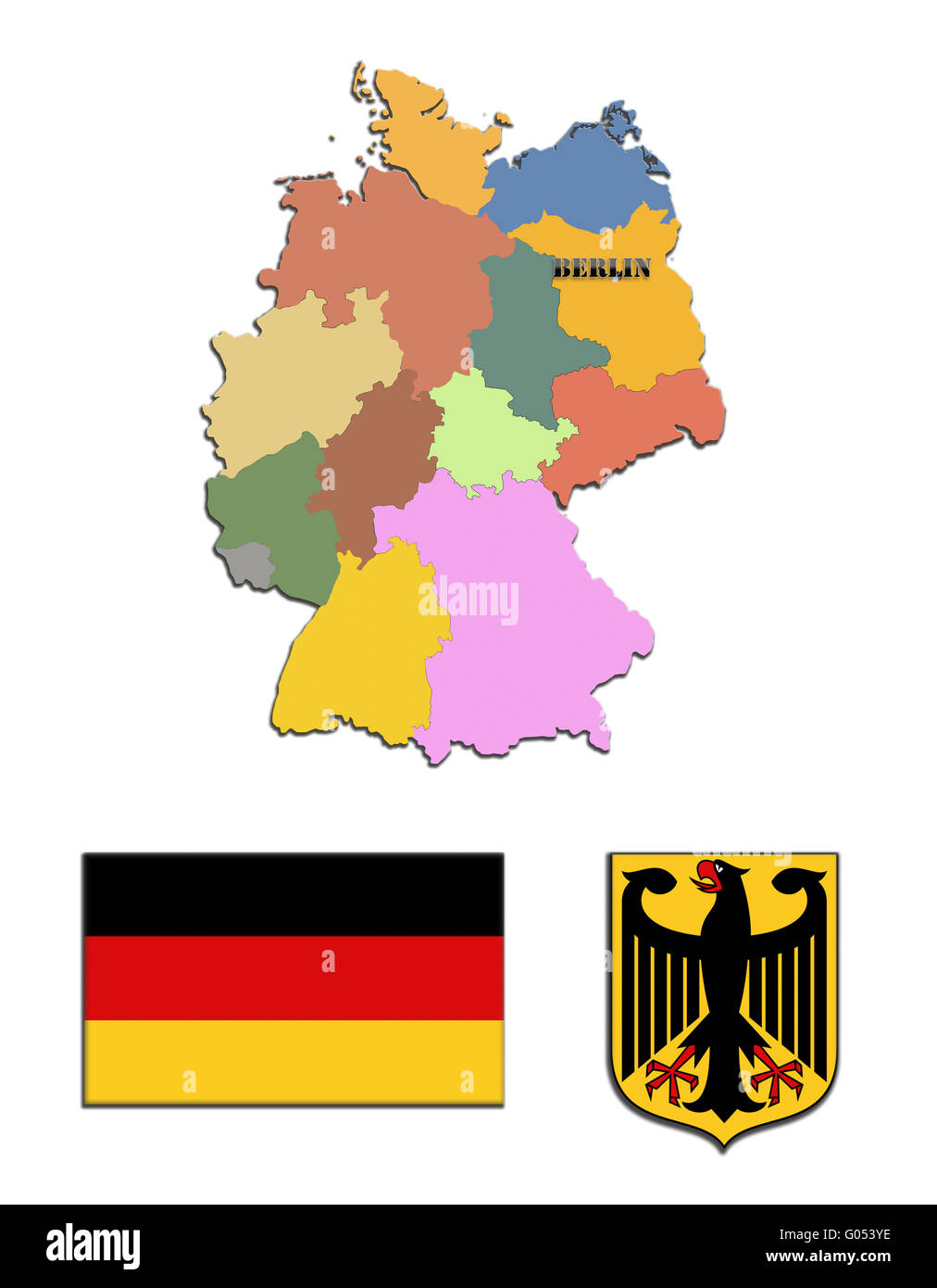 Coloured silhouette of the map and the herb of Ger - Stock Image