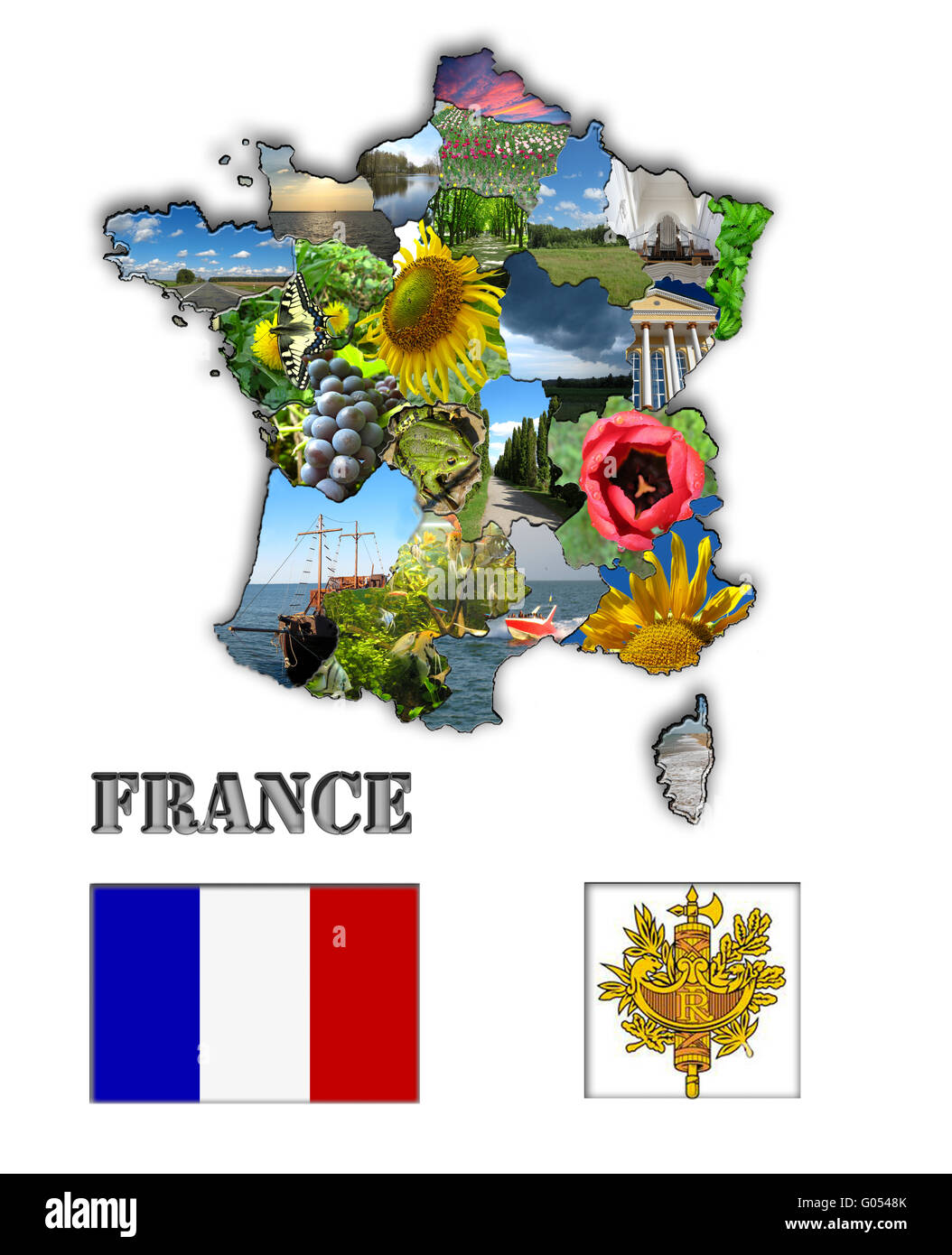 Coloured map of France made from different images - Stock Image
