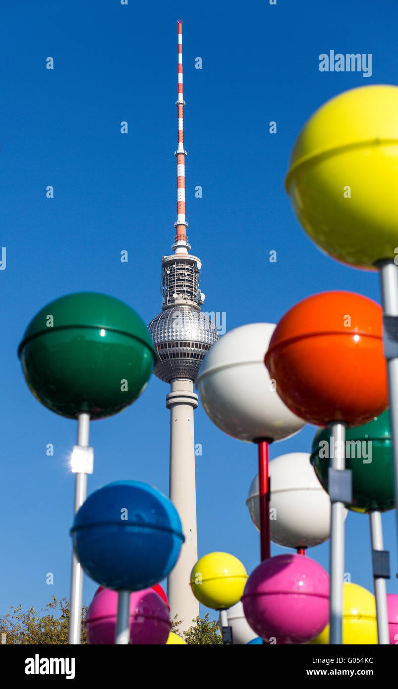 Berlin Radio Tower and oversized pins - Stock Image