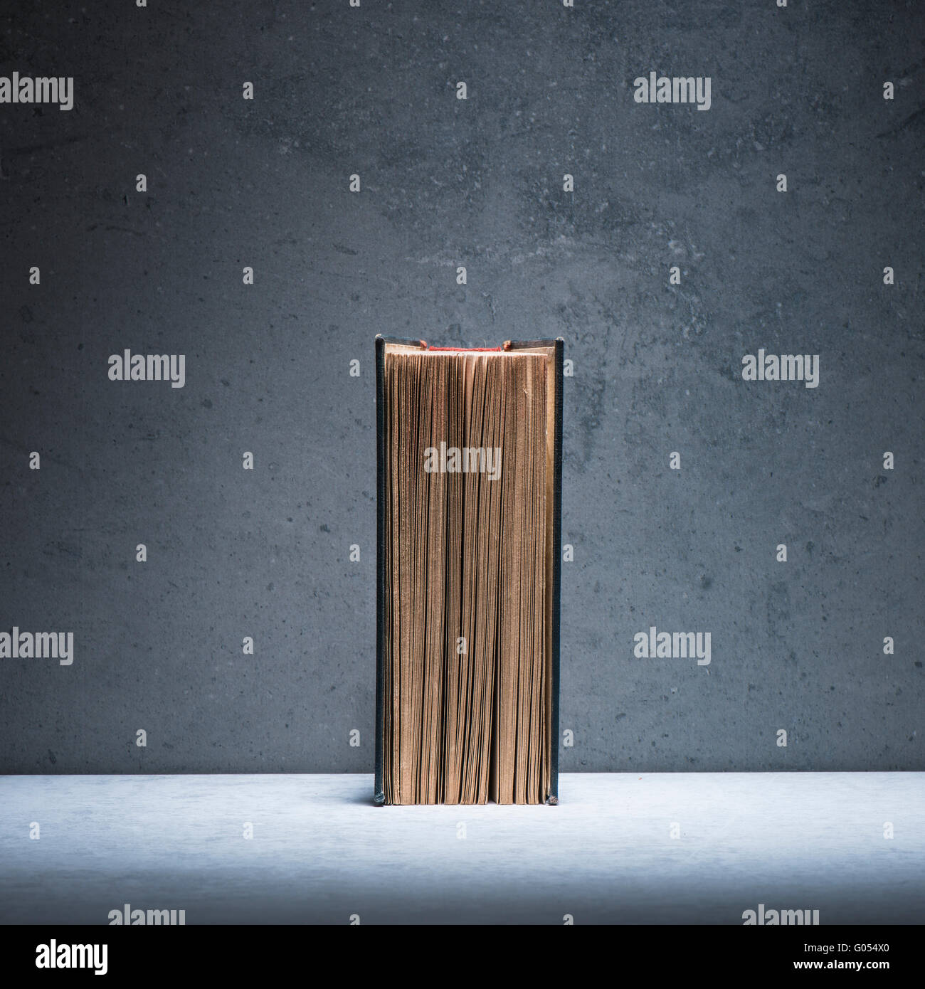 Old vintage book on stone table. Still life with copyspace. Concept of literature, education and history. - Stock Image