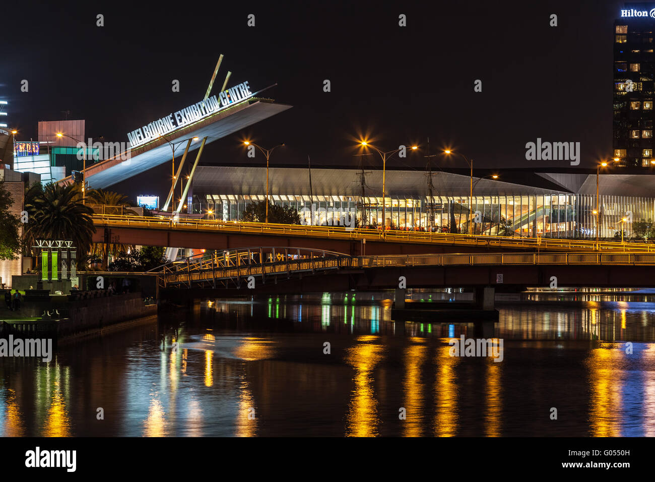 Melbourne CBD - APR 16 2016: Nightscape closeup of Melbourne Exhibition Centre sign - Stock Image