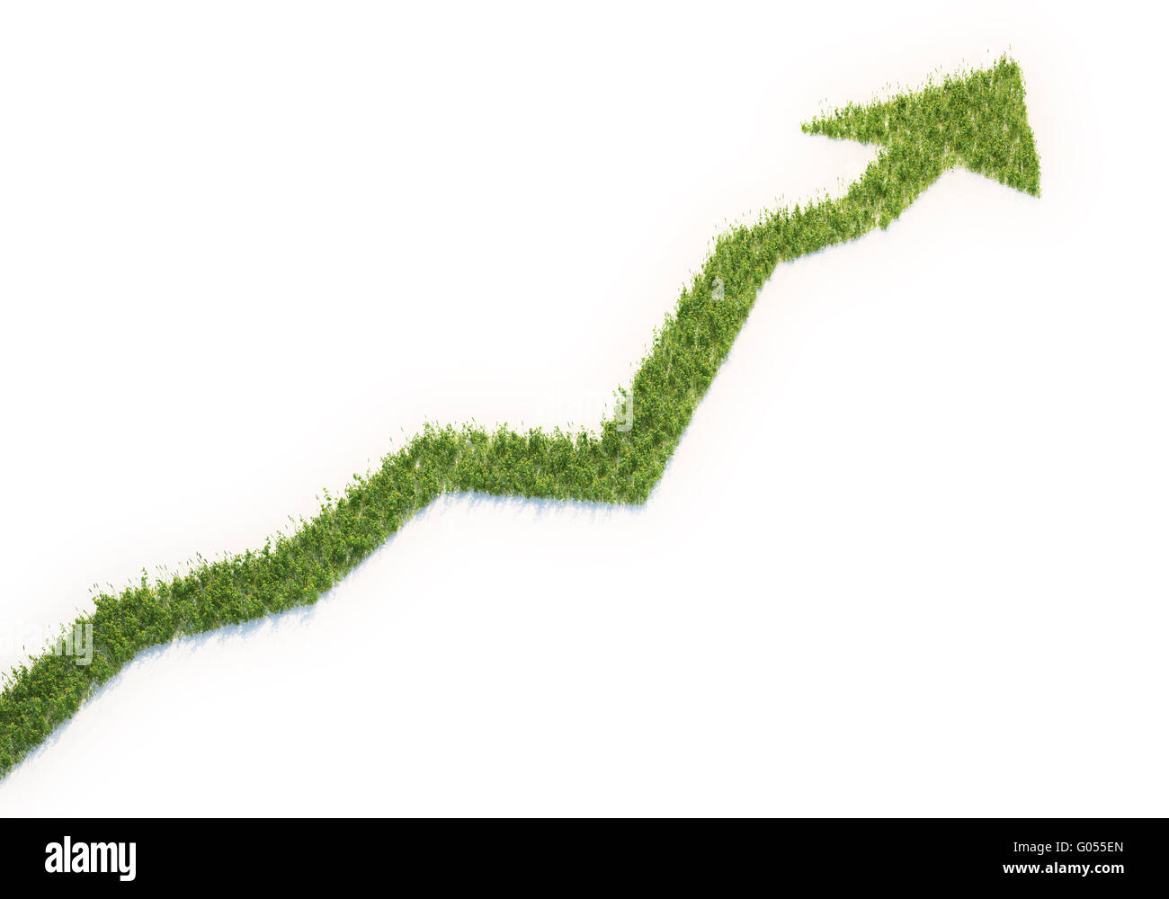 Grass patch shaped like a graph - eco business concept - Stock Image