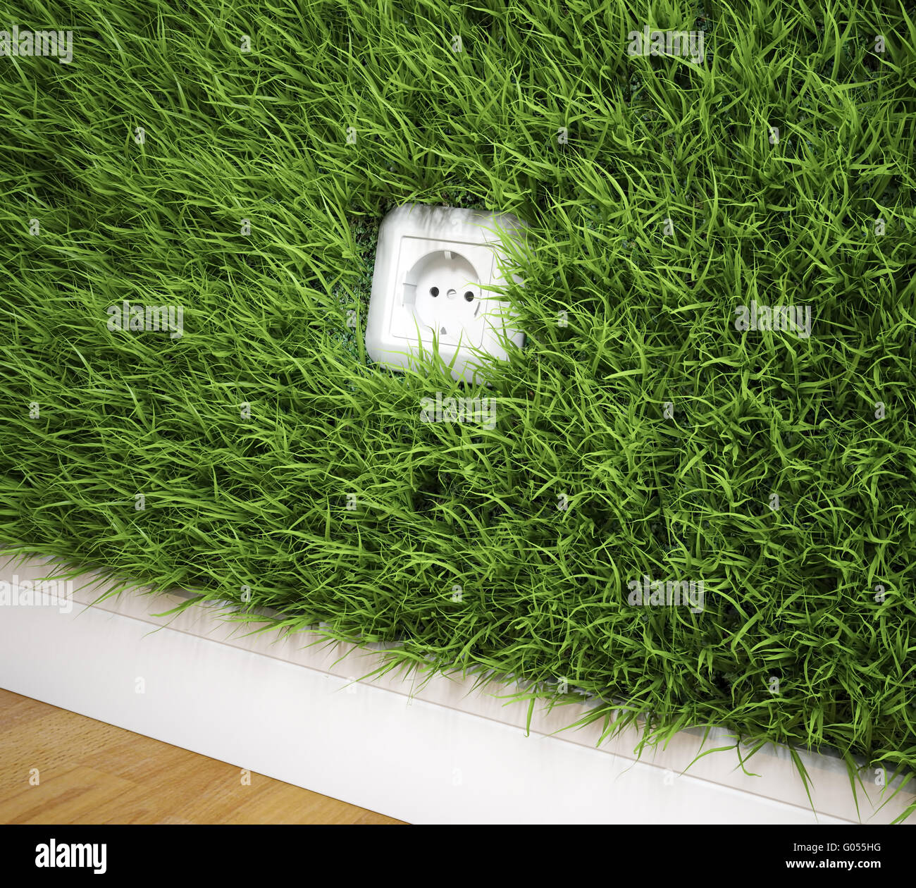 An electrical socket on a grass covered wall - Stock Image