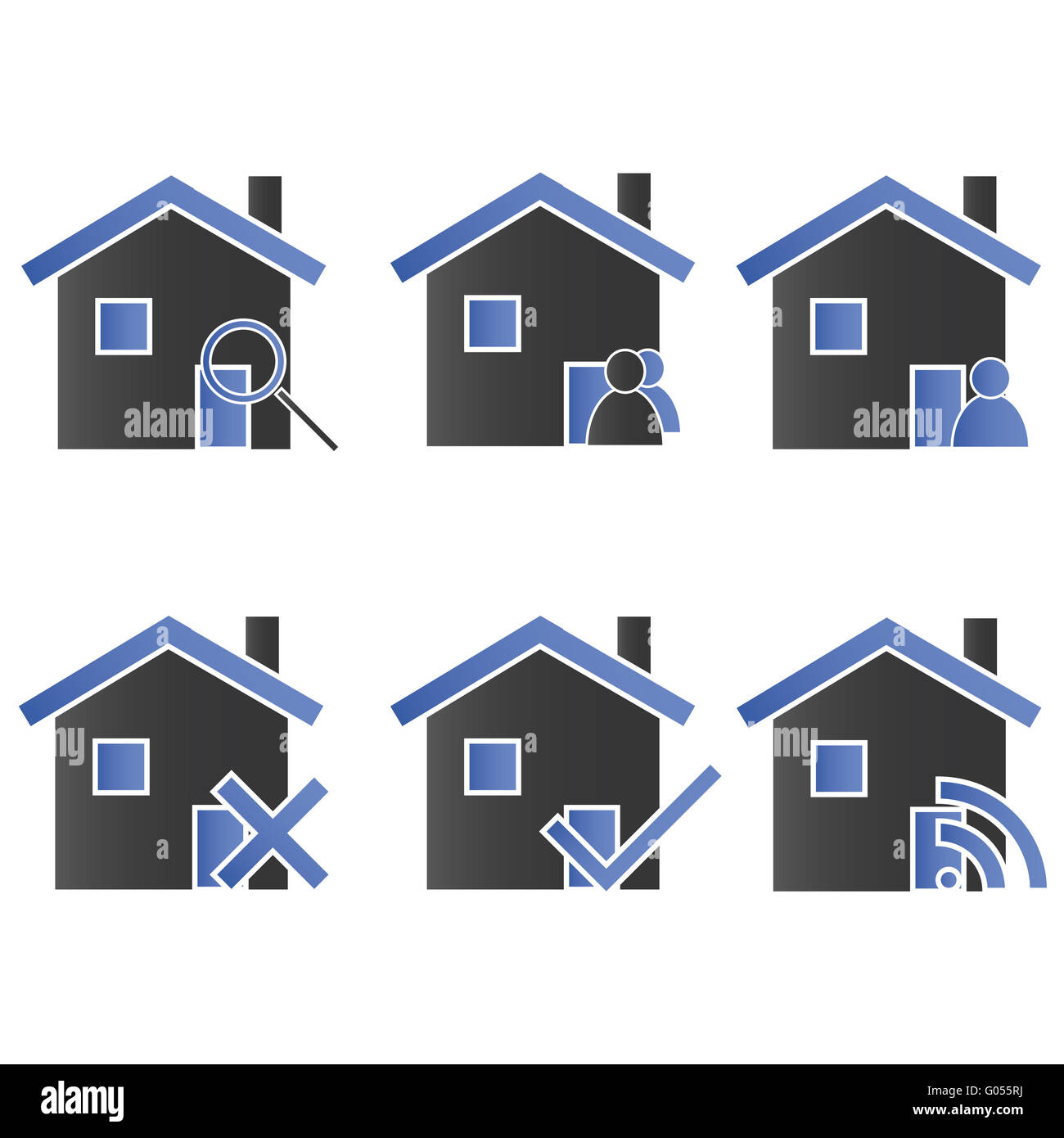 Homes with Icons Blue 2 - Stock Image