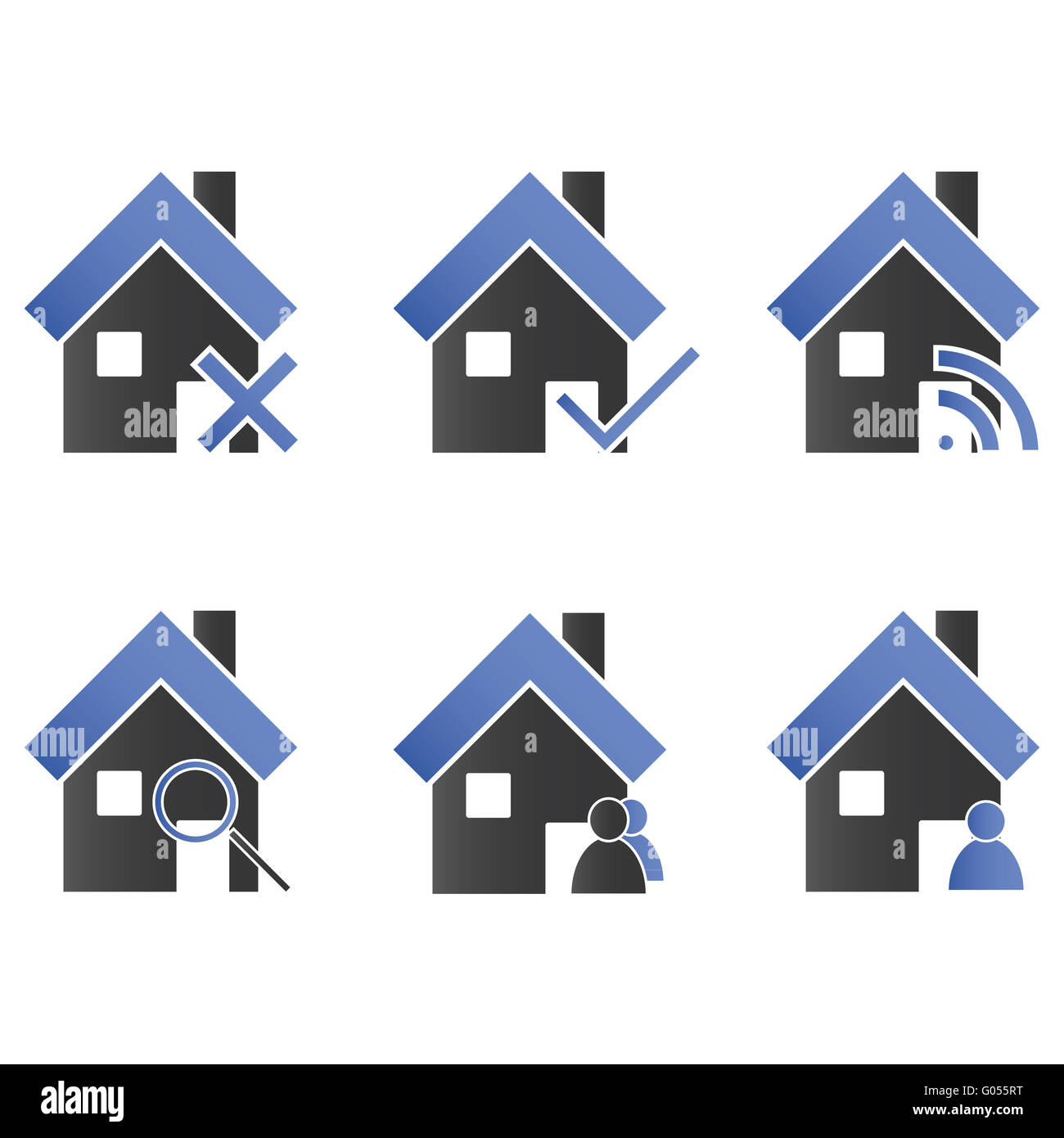 Homes with Icons Blue - Stock Image