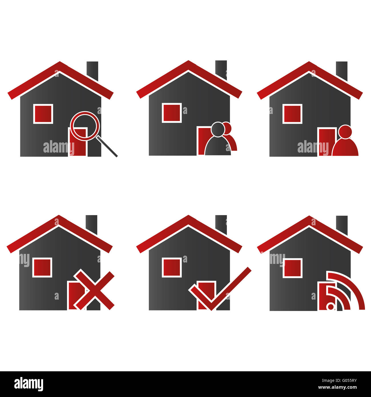 Homes with Icons Red 2 - Stock Image