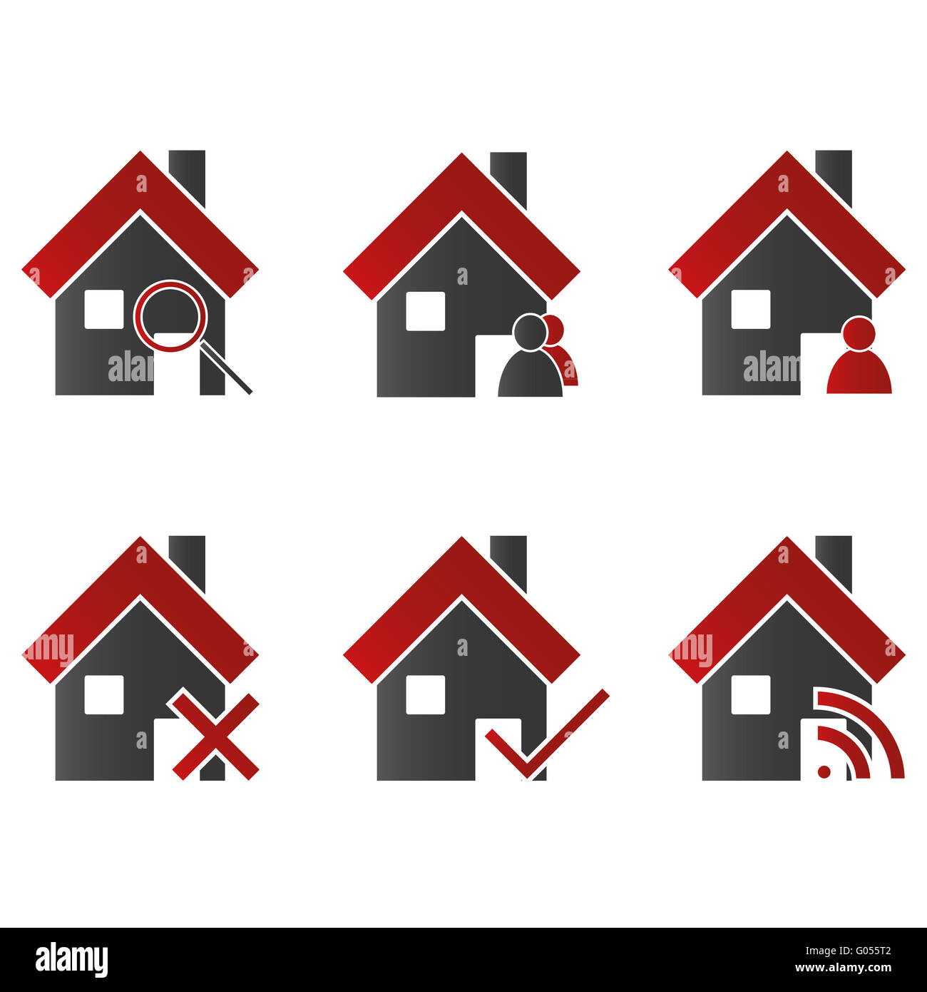 Homes with Icons Red - Stock Image