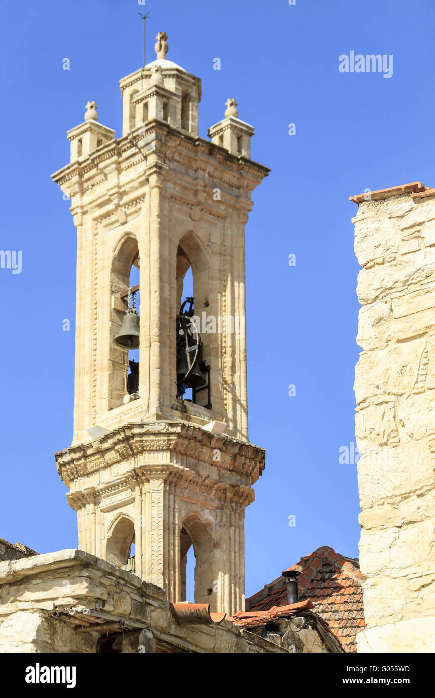 Monastry Of Timiou Bell Tower Omodos Village Cypru - Stock Image