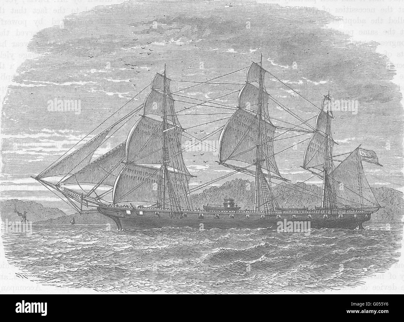 USA: Civil War: Hartford(Adm Farragut's flagship), antique print c1880 Stock Photo