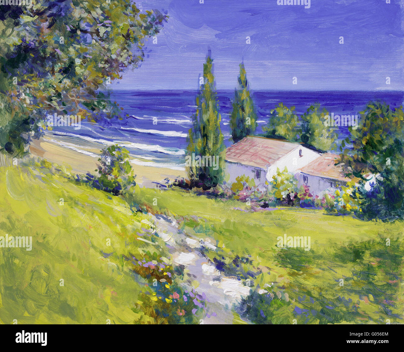 house by the sea  - summer landscape painting - Stock Image