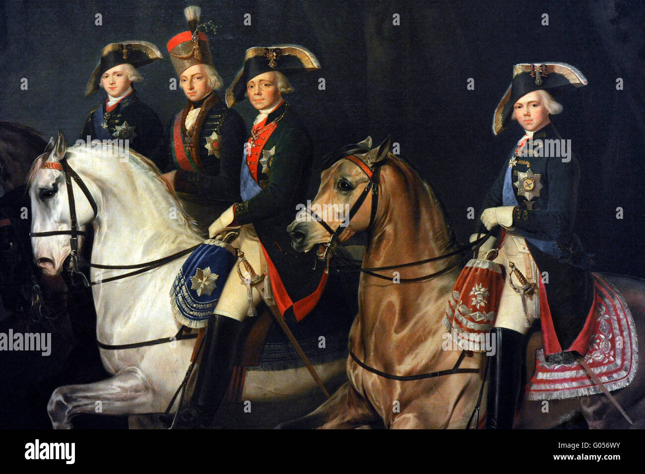 Portrait of Paul I with the Grand Dukes Alexandre Pavlovich, Konstantin Pavlovich and Palatine Stephen of Hungry. - Stock Image