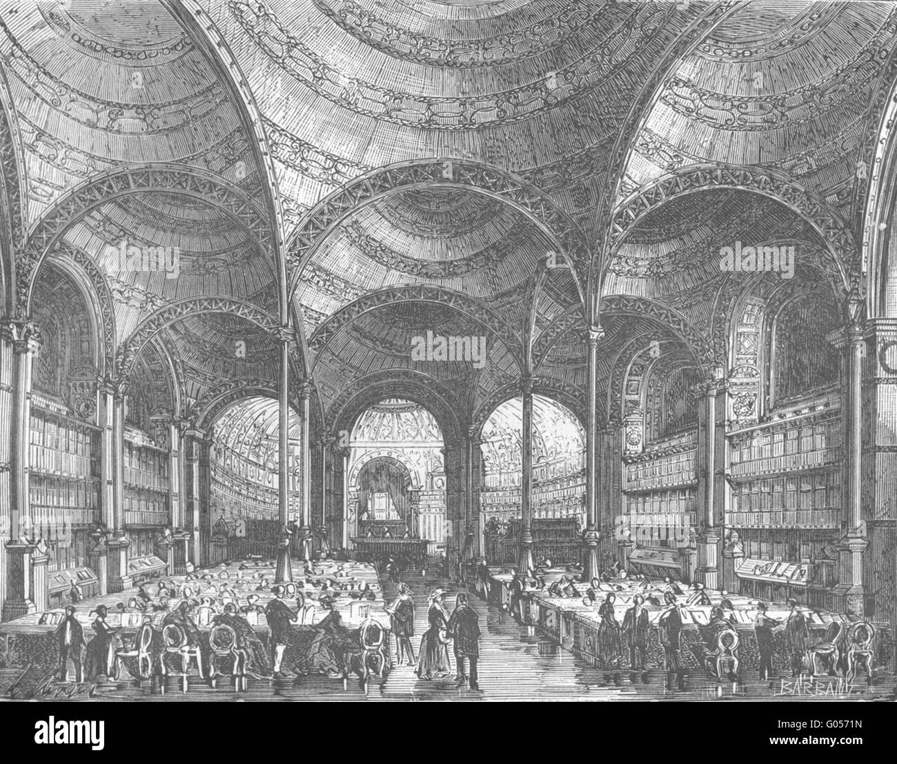 PARIS: Salle lecture Bibliotheque nationale , antique print 1881 - Stock Image