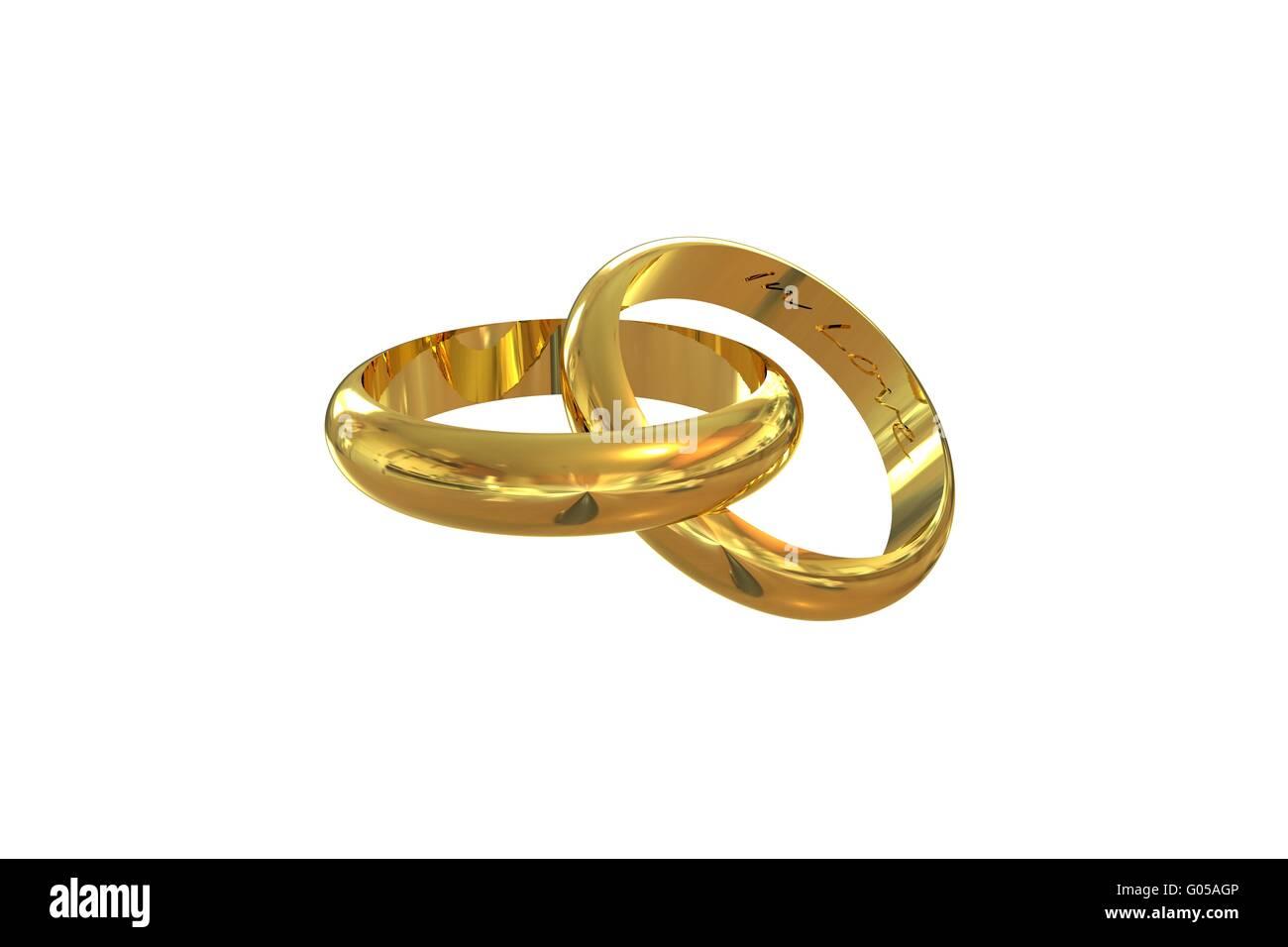Wedding Rings In Love - Stock Image
