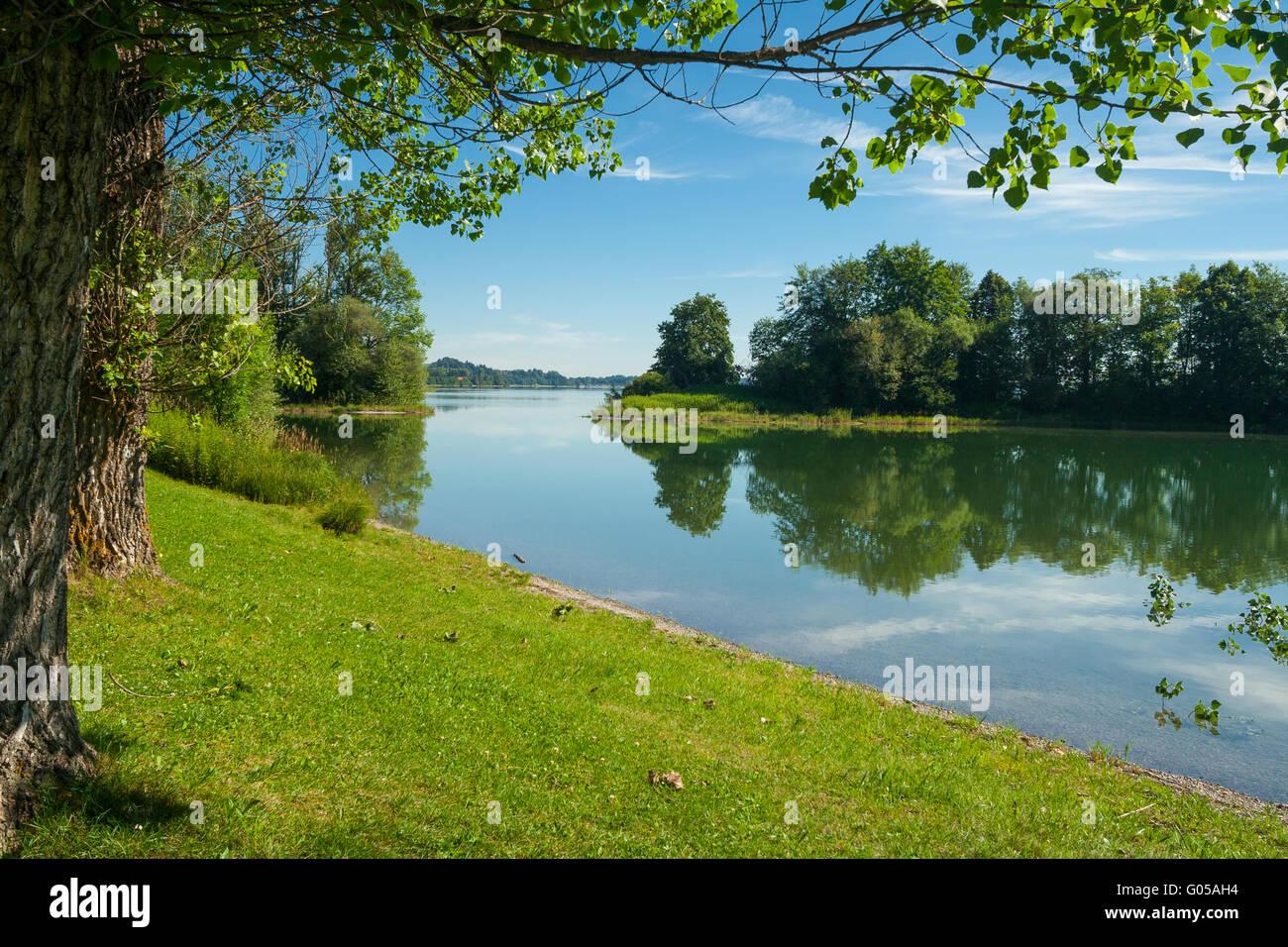 Lake Forggensee near the city Füssen in Bavaria - Germany Stock Photo