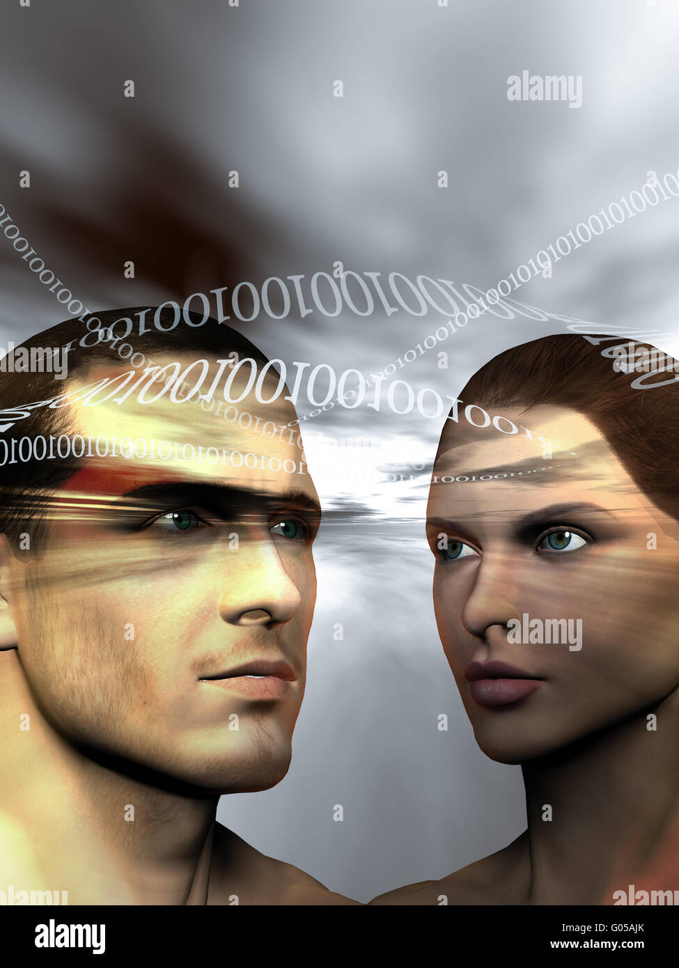 Binary man and woman on gray background - Stock Image