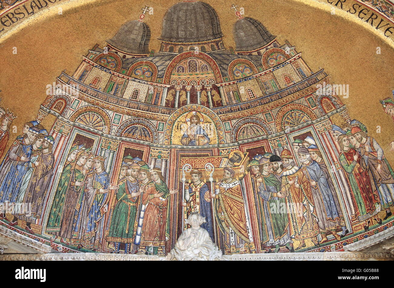 Mosaic in St. Mark Cathedral facade in Venice Stock Photo
