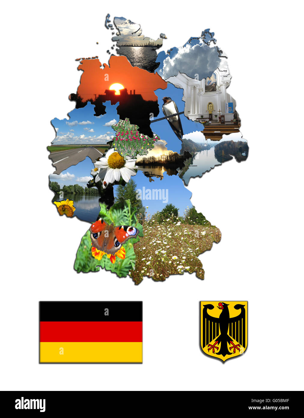 Colored map and the herb of Germany with photos - Stock Image