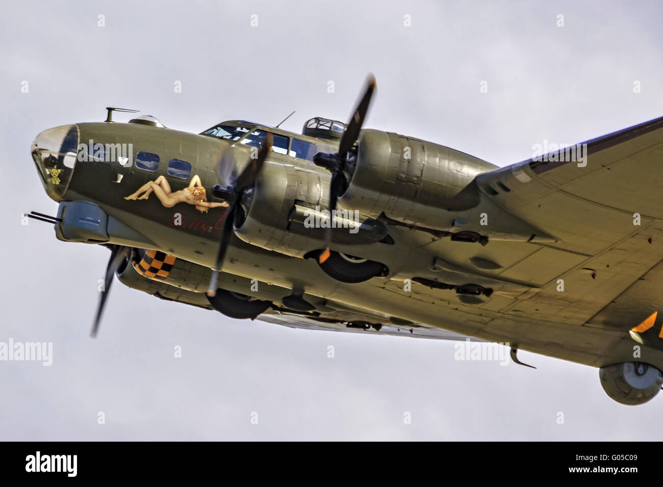 Aircraft Boeing B-17 Flying Fortress Duxford UK - Stock Image