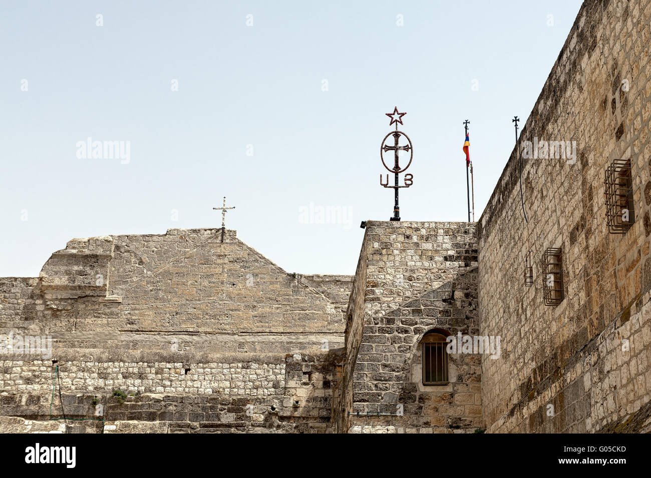 The walls of the Basilica of Nativity in Bethlehem - Stock Image