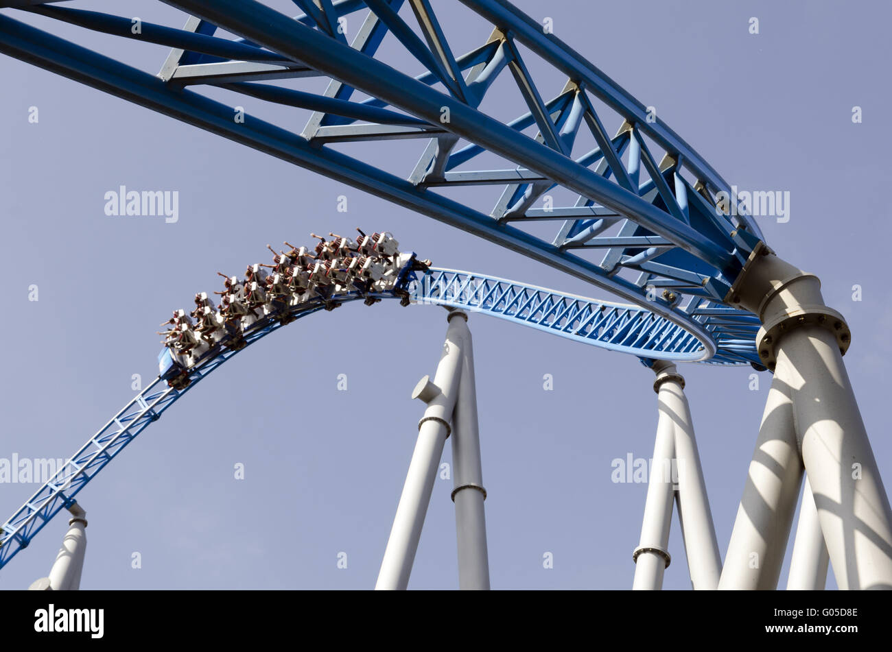 Blue Fire Rollercoaster - Stock Image