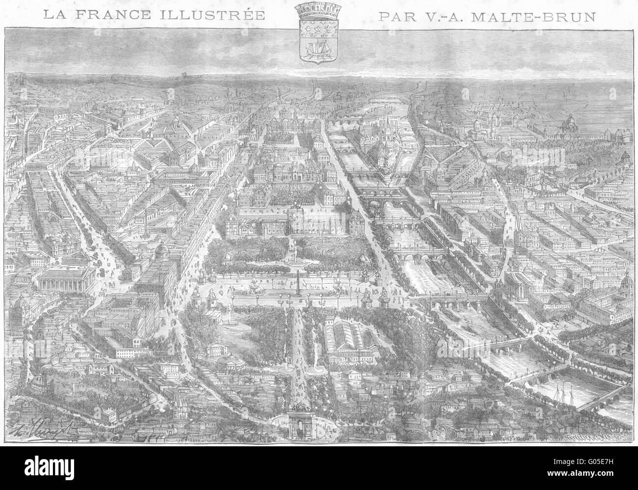 PARIS: Prise de L'Arc Triomphe L'Etoile, antique print 1883 - Stock Image
