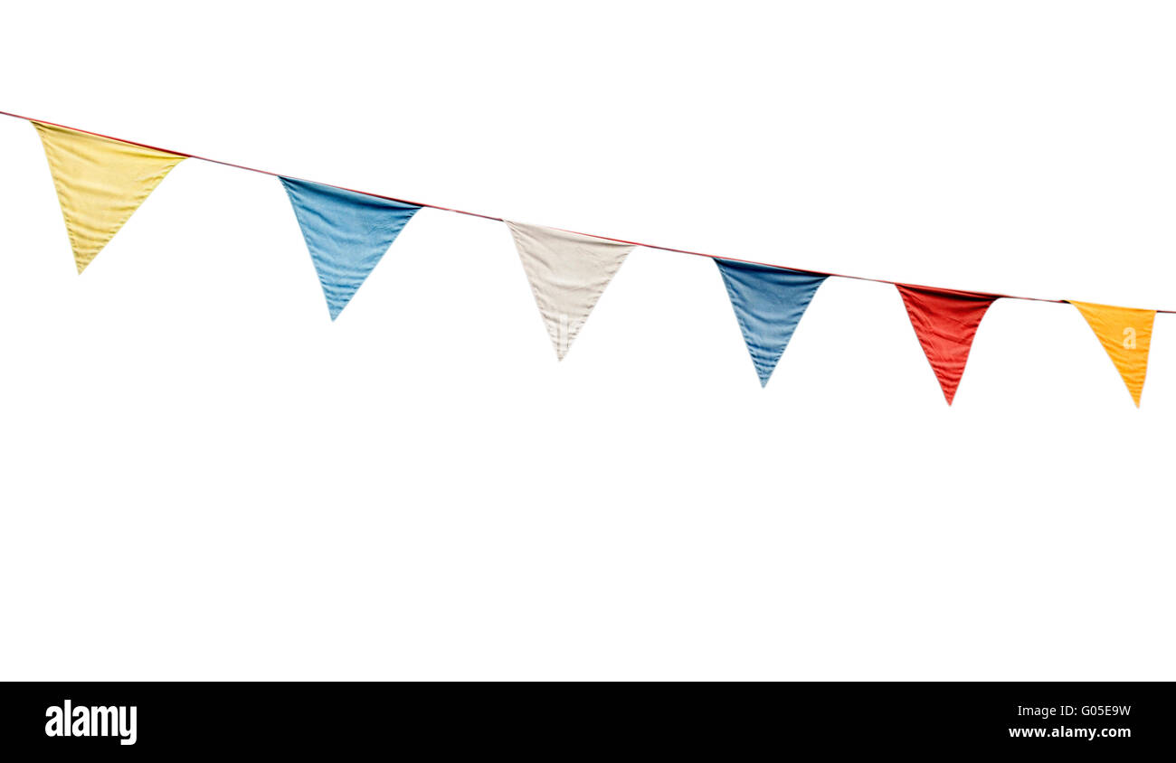 colorful festive bunting flags (isolated on white background) - Stock Image
