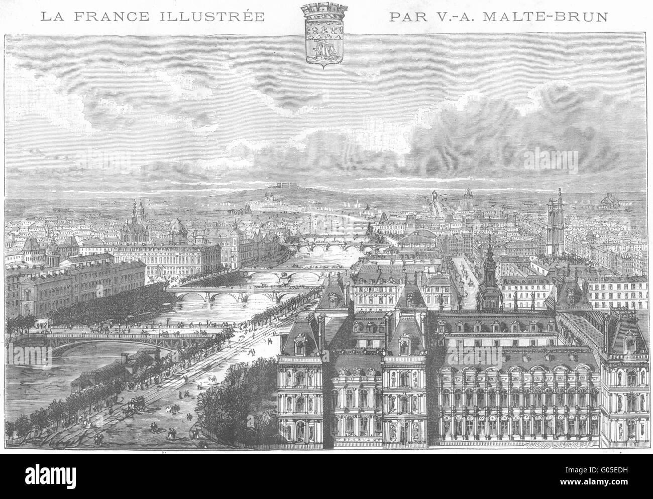 PARIS: Prise de Tour St-Gervais, antique print 1883 - Stock Image