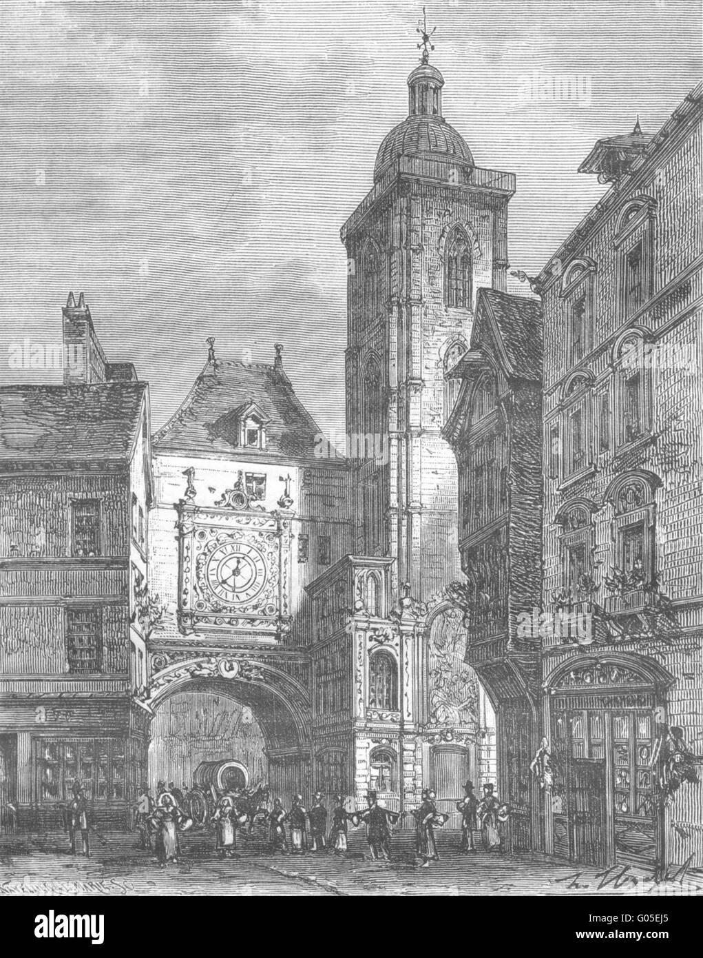 GROSSE HORLOGE: Inferieure: tour de, a Rouen, antique print 1883 - Stock Image