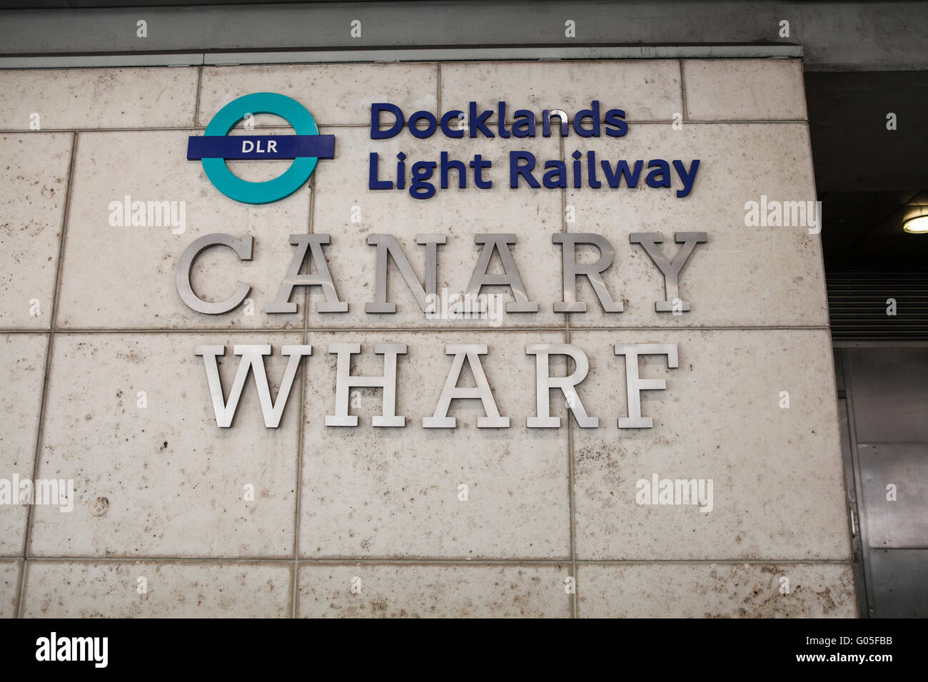 Canary Wharf Docklands Light Railway sign entrance - Stock Image