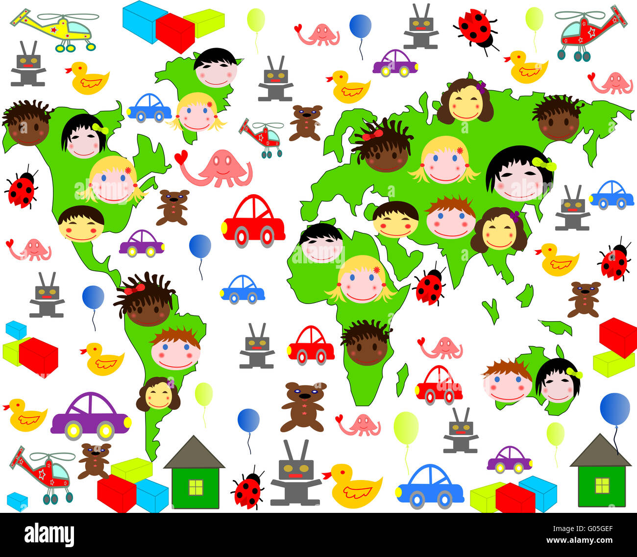 Persons of children of different races on the map - Stock Image