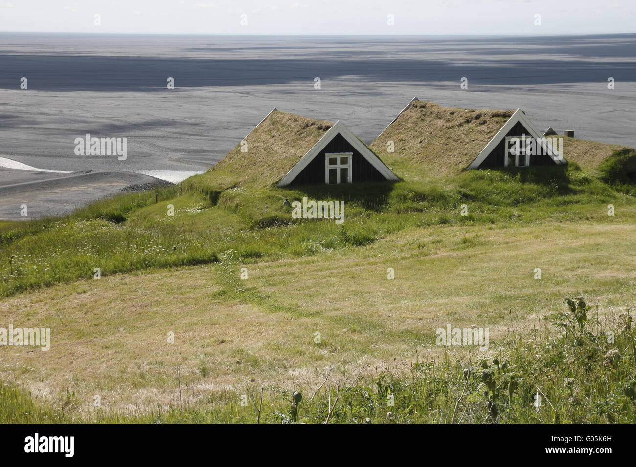 An old house of Sel farm overlooking Skeiðarársandur - Stock Image