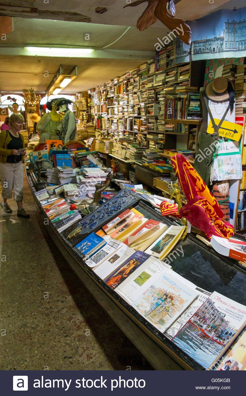 Interior of the Libreria Acqua Alta Bookshop, Venice, Italy, April - Stock Image