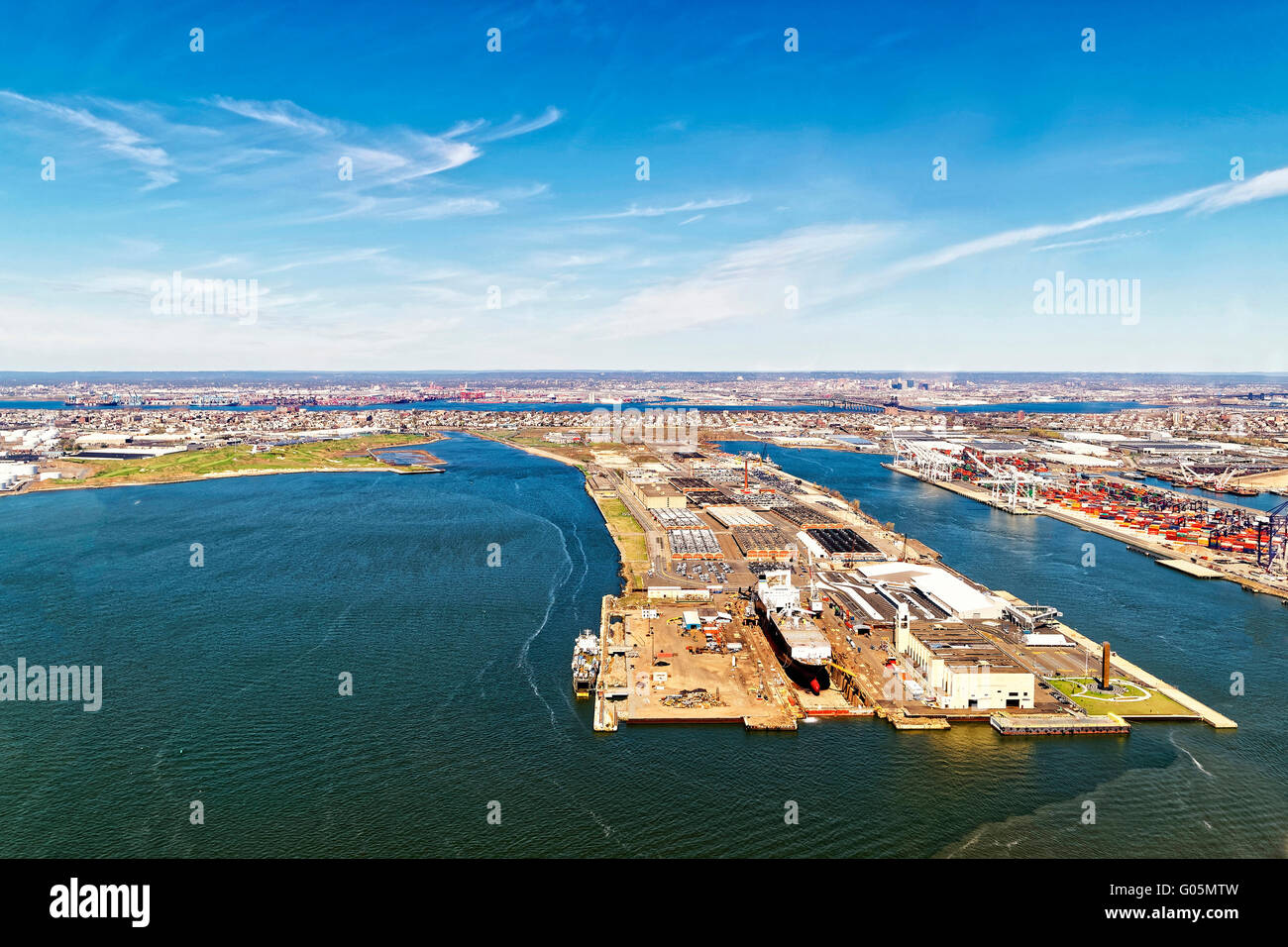 Bayonne, USA - April 25, 2015: Aerial view of Bayonne Dry Dock and Repair in Bayonne, New Jersey, USA. Global container Stock Photo