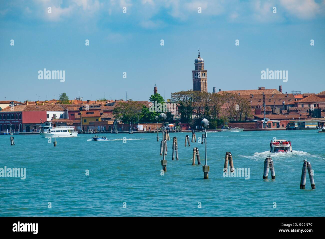 Boats on the Canale delle Fondamenta Nuove travelling to and from Murano Island, Venice, Italy, April - Stock Image