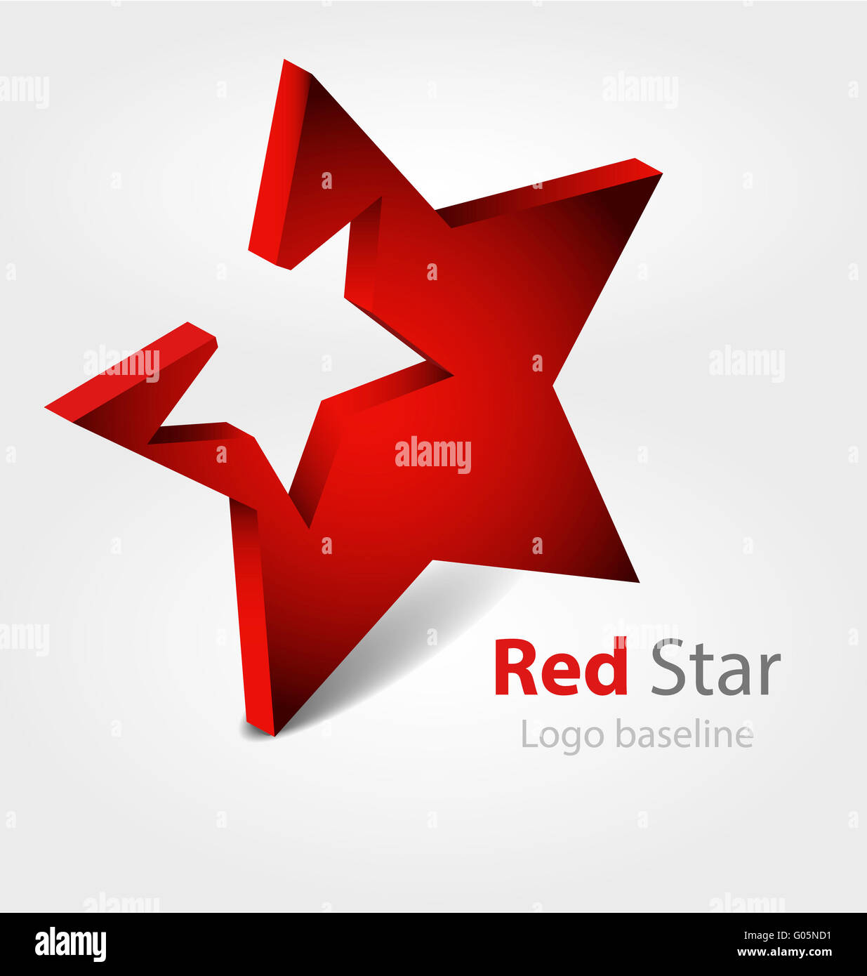 Red  star 3D vector logo - Stock Image