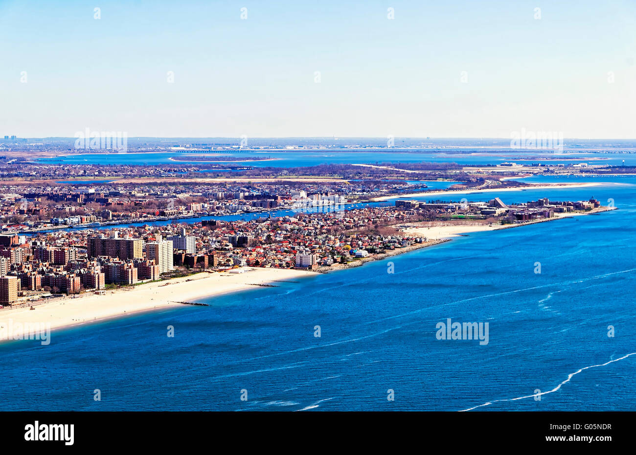Aerial view from helicopter of Long Island in New York, USA. It is the westernmost residential and commercial neighborhood - Stock Image