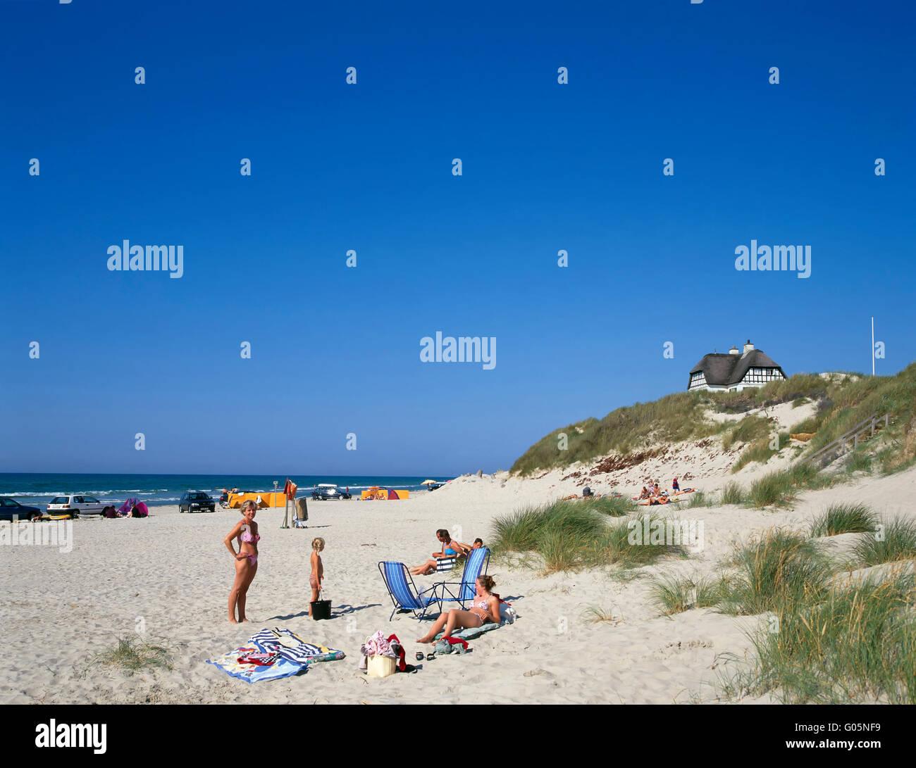 Loekken, beach and holiday house in the dunes,  northern Jutland, Denmark, Scandinavia, Europe - Stock Image