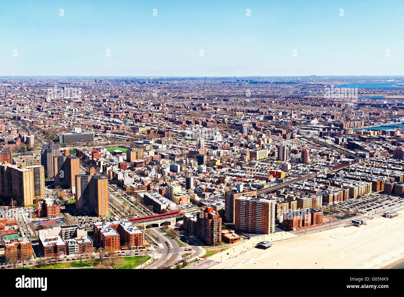 Aerial view from helicopter to Long Island in New York, USA. It is the westernmost residential and commercial neighborhood - Stock Image