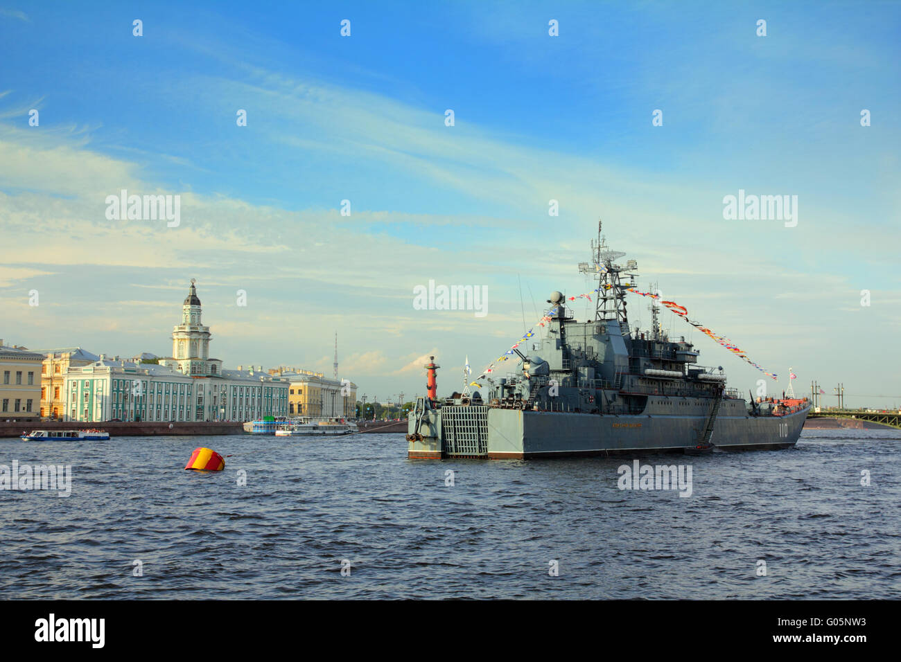 military ship on Neva River - day of the Navy in St. Petersburg - Stock Image
