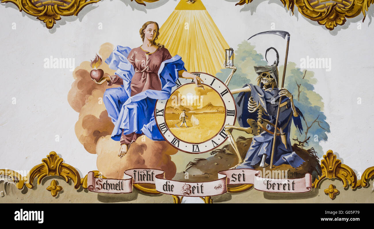 mural painting  showing a tempus fugit motif - Stock Image