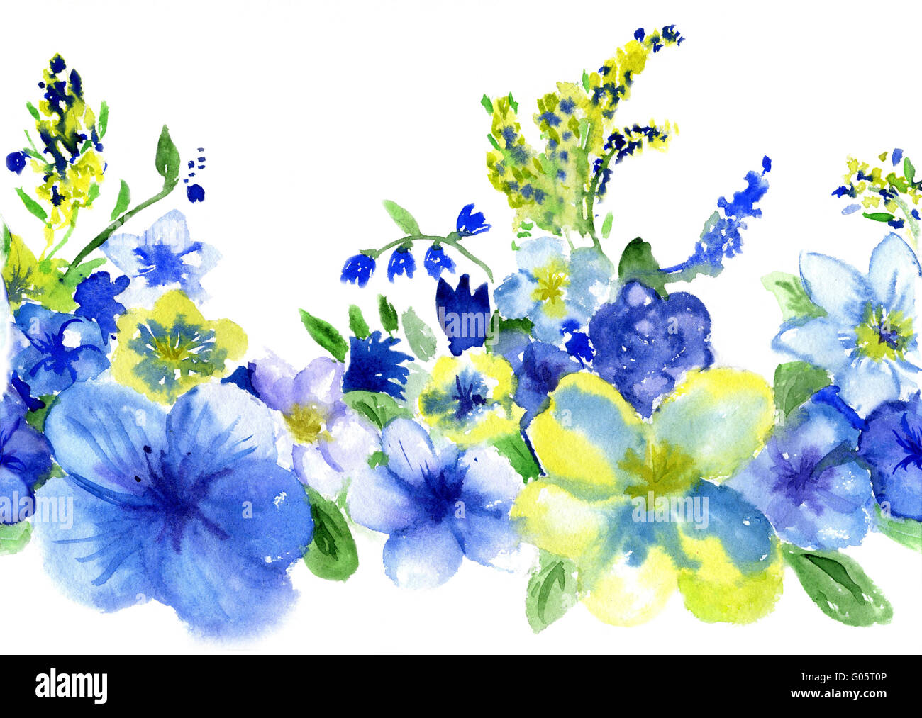 Yellow Blue Summer Flowers Watercolor Stock Photos Yellow Blue