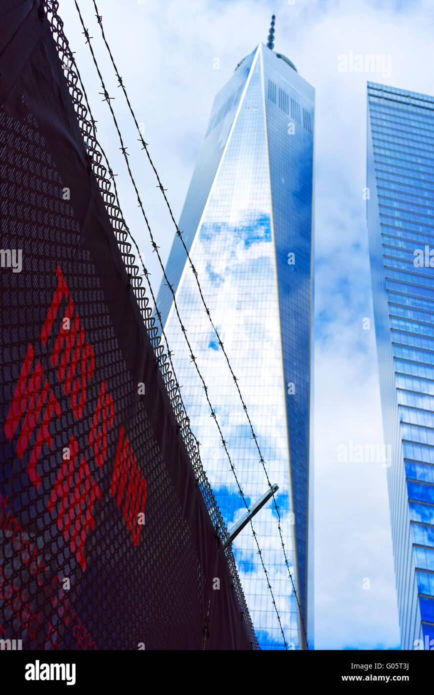 NEW YORK, USA - APRIL 24, 2015: One World Trade Center and phrase in Lower Manhattan, New York City, USA. It is - Stock Image