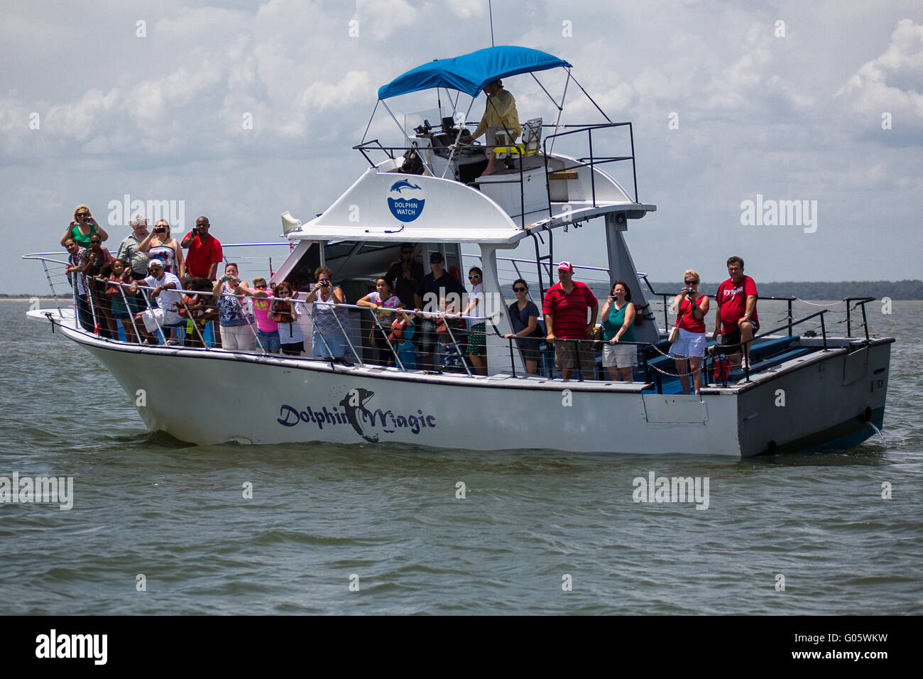 Tourist Boat for Dolphin Watching - Stock Image