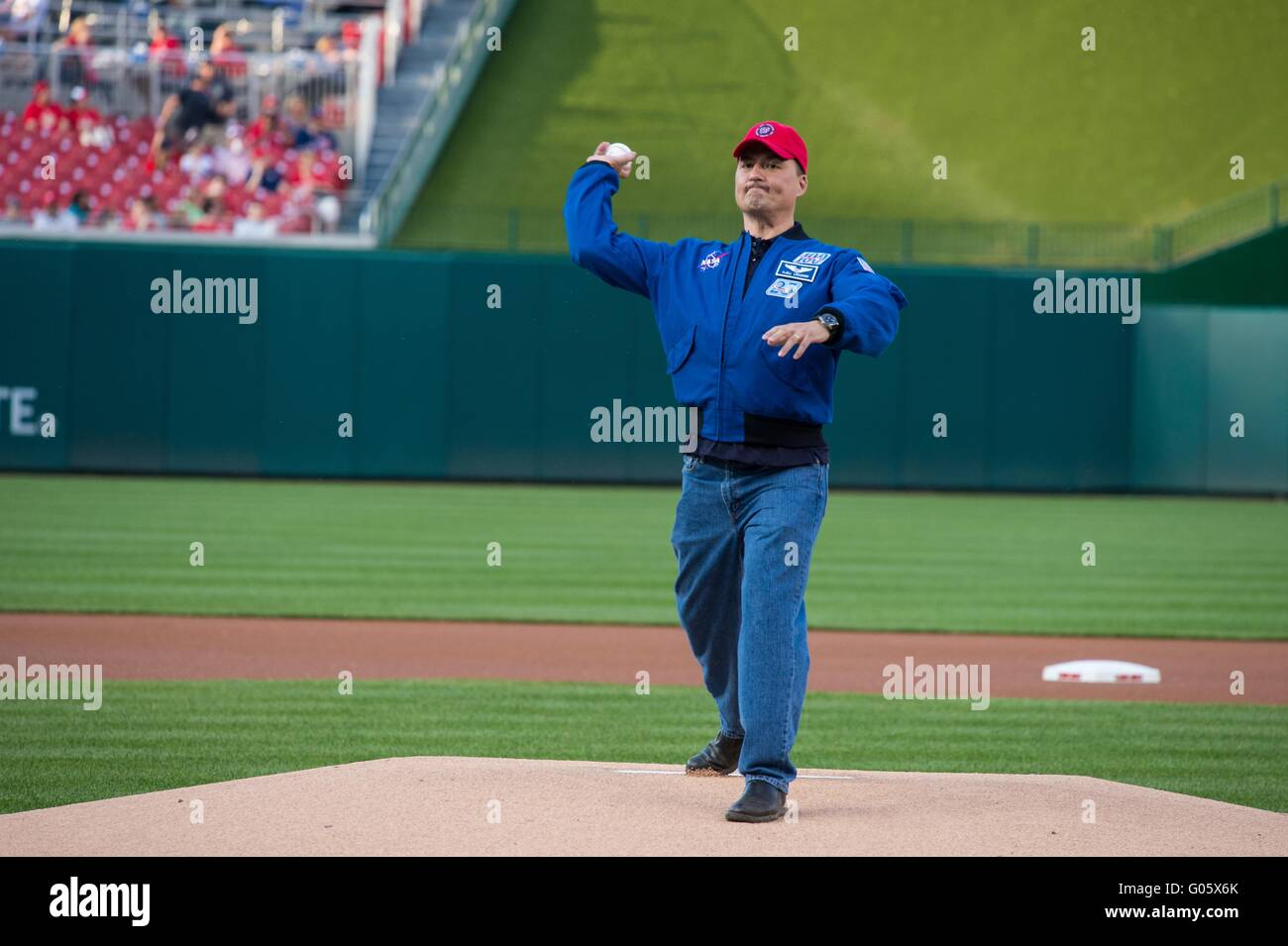 NASA astronaut Kjell Lindgren throws out the ceremonial first pitch before the Washington Nationals take on the - Stock Image