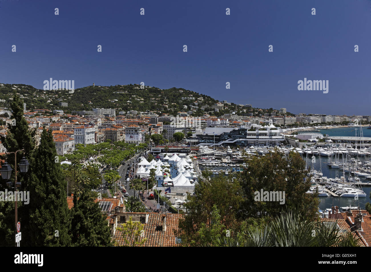 Cannes, panorama view from the castle with marina - Stock Image