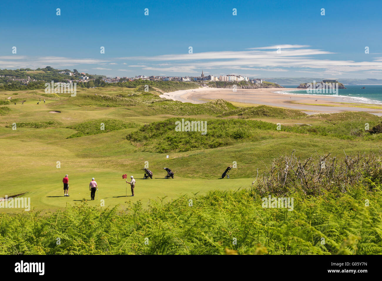 Tenby golf course south beach Tenby Penally - Pembrokeshire - Stock Image
